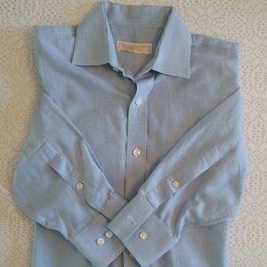 Men's dress long sleeve shirt buttons up